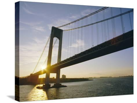 Verrazano Narrows Bridge, Approach to the City, New York, New York State, USA-Ken Gillham-Stretched Canvas Print