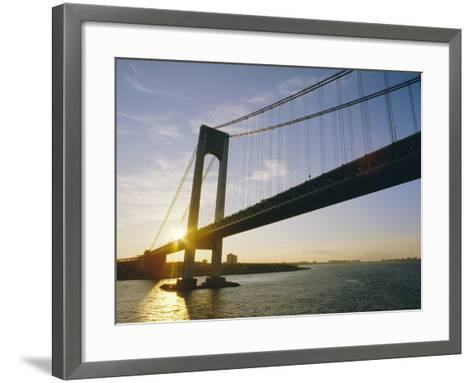 Verrazano Narrows Bridge, Approach to the City, New York, New York State, USA-Ken Gillham-Framed Art Print