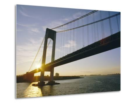 Verrazano Narrows Bridge, Approach to the City, New York, New York State, USA-Ken Gillham-Metal Print