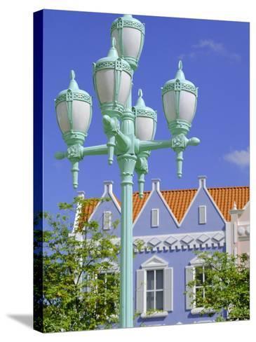 Typical Pastel Shades on Mock Dutch Architecture, Aruba, Dutch Antilles, Caribbean, West Indies-Ken Gillham-Stretched Canvas Print