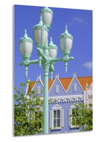 Typical Pastel Shades on Mock Dutch Architecture, Aruba, Dutch Antilles, Caribbean, West Indies-Ken Gillham-Metal Print