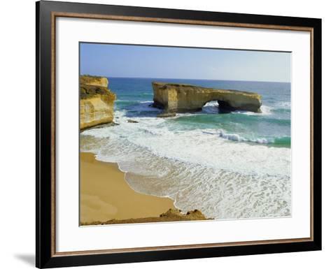 London Bridge, Coastal Feature Along the Great Ocean Road, Victoria, Australia-Peter Scholey-Framed Art Print
