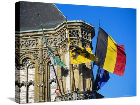 Flags of Belgium on the Right, Flanders in the Center on the Town Hall of Ghent, Flanders, Belgium-Richard Ashworth-Stretched Canvas Print