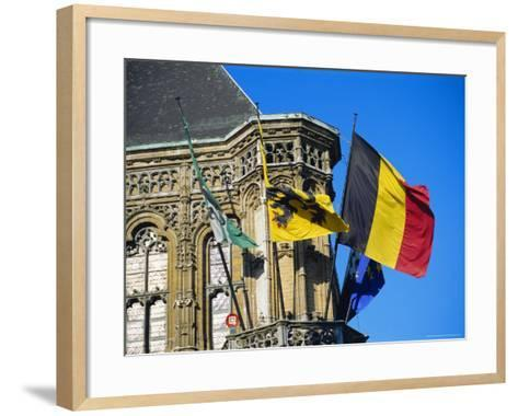 Flags of Belgium on the Right, Flanders in the Center on the Town Hall of Ghent, Flanders, Belgium-Richard Ashworth-Framed Art Print