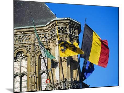 Flags of Belgium on the Right, Flanders in the Center on the Town Hall of Ghent, Flanders, Belgium-Richard Ashworth-Mounted Photographic Print