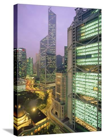 Central from Princes Building, Legco Bank of China, Hk Bank, Hong Kong, China, Asia-Tim Hall-Stretched Canvas Print