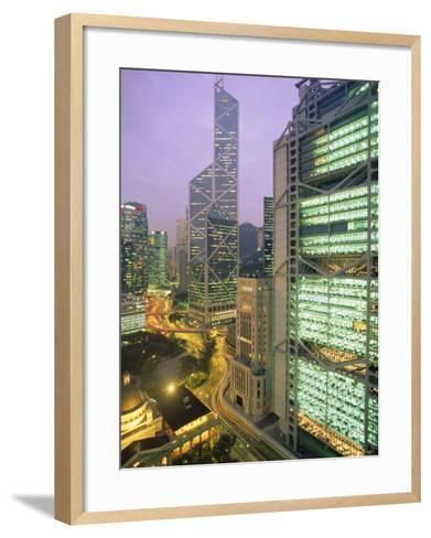 Central from Princes Building, Legco Bank of China, Hk Bank, Hong Kong, China, Asia-Tim Hall-Framed Art Print