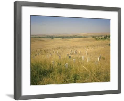 Custer's Last Stand Battlefield, Custer's Grave Site Marked by Dark Shield on Stone, Montana, USA-Geoff Renner-Framed Art Print