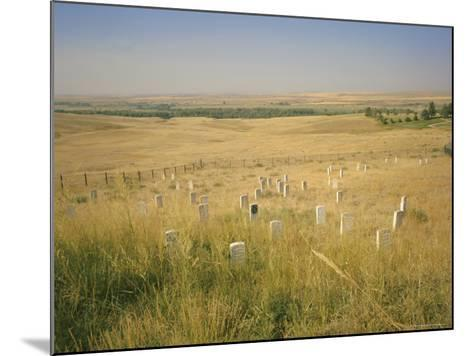 Custer's Last Stand Battlefield, Custer's Grave Site Marked by Dark Shield on Stone, Montana, USA-Geoff Renner-Mounted Photographic Print