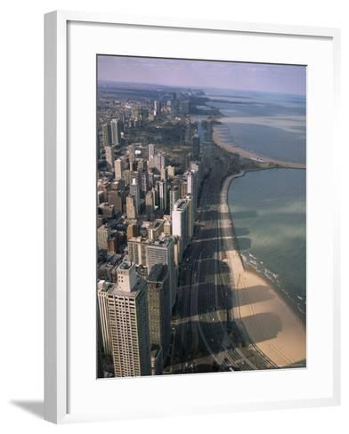 View North Along Shore of Lake Michigan from John Hancock Center, Chicago, Illinois, USA-Jenny Pate-Framed Art Print