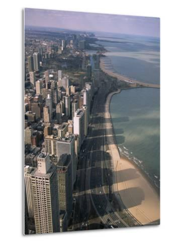View North Along Shore of Lake Michigan from John Hancock Center, Chicago, Illinois, USA-Jenny Pate-Metal Print