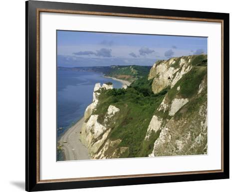 Hoskon Landslip, Beer Head, from Coastal Path, East Devon, England, UK-Michael Black-Framed Art Print