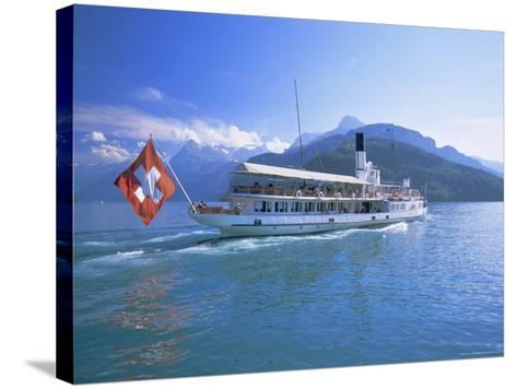Tourist Boat Crossing the Lake, Lake Geneva (Lac Leman), Switzerland, Europe-Gavin Hellier-Stretched Canvas Print