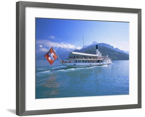Tourist Boat Crossing the Lake, Lake Geneva (Lac Leman), Switzerland, Europe-Gavin Hellier-Framed Art Print