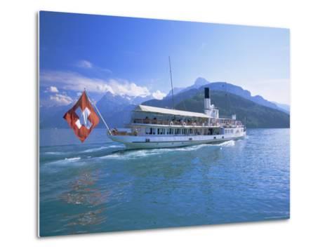 Tourist Boat Crossing the Lake, Lake Geneva (Lac Leman), Switzerland, Europe-Gavin Hellier-Metal Print
