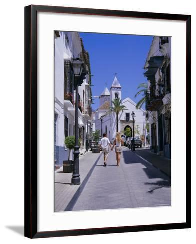 Street and Church in the Old Town, Marbella, Costa Del Sol, Andalucia (Andalusia), Spain, Europe-Gavin Hellier-Framed Art Print