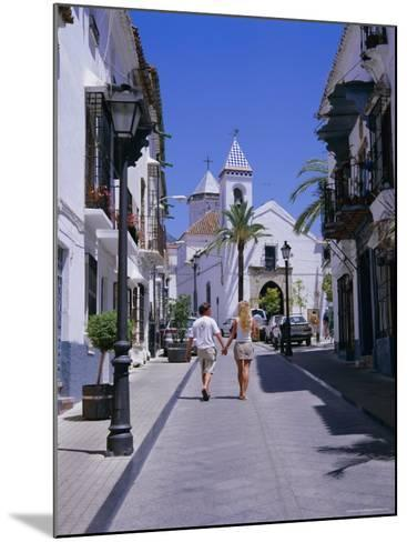 Street and Church in the Old Town, Marbella, Costa Del Sol, Andalucia (Andalusia), Spain, Europe-Gavin Hellier-Mounted Photographic Print
