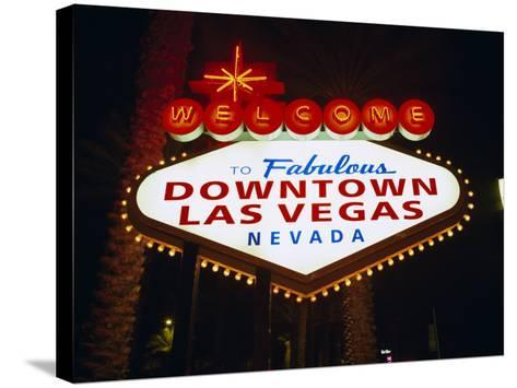Welcome to Las Vegas Sign at Night, Las Vegas, Nevada, USA-Gavin Hellier-Stretched Canvas Print