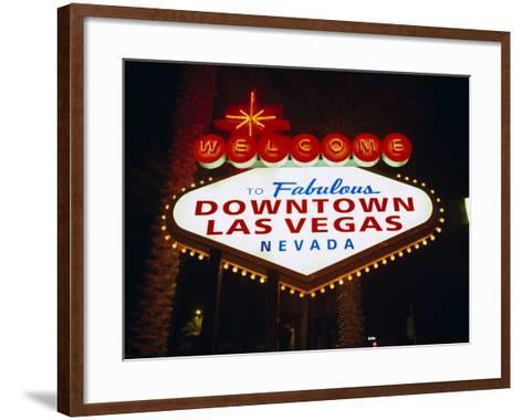Welcome to Las Vegas Sign at Night, Las Vegas, Nevada, USA-Gavin Hellier-Framed Art Print