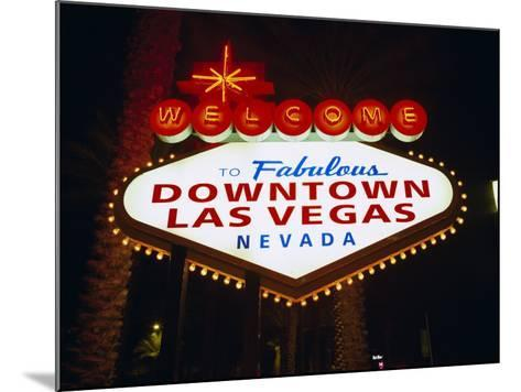 Welcome to Las Vegas Sign at Night, Las Vegas, Nevada, USA-Gavin Hellier-Mounted Photographic Print