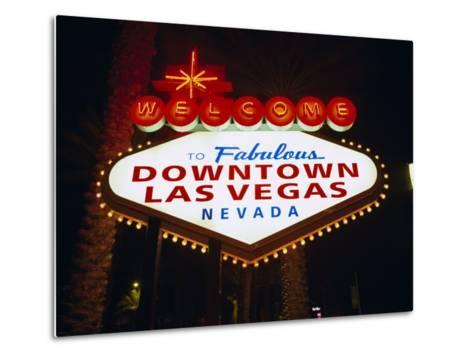 Welcome to Las Vegas Sign at Night, Las Vegas, Nevada, USA-Gavin Hellier-Metal Print
