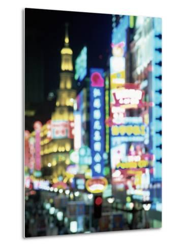 Blurred Neon Lights at Night, Nanjing Dong Lu New Pedestrian Street, Nanjing Road, Shanghai, China-Gavin Hellier-Metal Print
