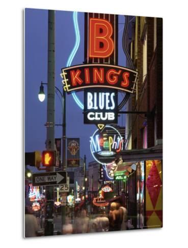 The Famous Beale Street at Night, Memphis, Tennessee, United States of America, North America-Gavin Hellier-Metal Print