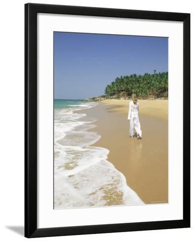 Woman Tourist Walking Along the Beach, Kovalam, Kerala State, India, Asia-Gavin Hellier-Framed Art Print