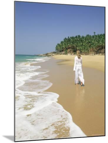 Woman Tourist Walking Along the Beach, Kovalam, Kerala State, India, Asia-Gavin Hellier-Mounted Photographic Print