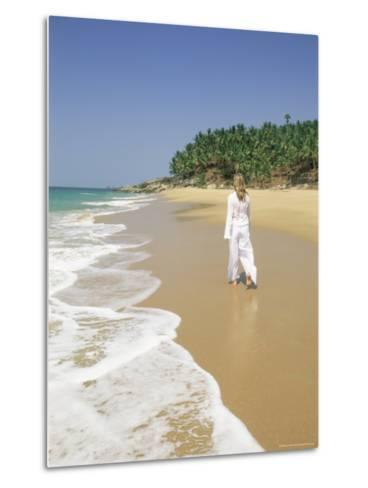 Woman Tourist Walking Along the Beach, Kovalam, Kerala State, India, Asia-Gavin Hellier-Metal Print