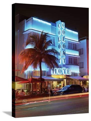 Art Deco District at Dusk, Ocean Drive, Miami Beach, Miami, Florida, United States of America-Gavin Hellier-Stretched Canvas Print
