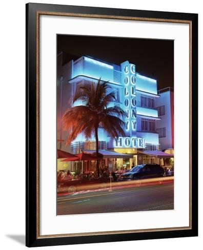 Art Deco District at Dusk, Ocean Drive, Miami Beach, Miami, Florida, United States of America-Gavin Hellier-Framed Art Print