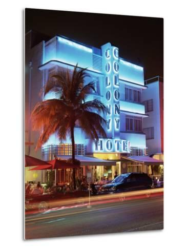 Art Deco District at Dusk, Ocean Drive, Miami Beach, Miami, Florida, United States of America-Gavin Hellier-Metal Print