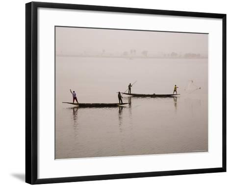 Fishing on the River Niger, Niger Inland Delta, Segou Region, Mali, West Africa, Africa-Gavin Hellier-Framed Art Print