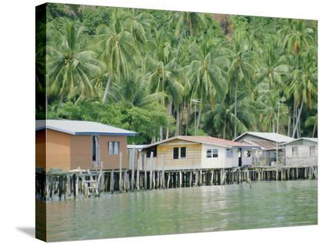 Stilt Houses of a Fishing Village, Sabah, Island of Borneo, Malaysia-Gavin Hellier-Stretched Canvas Print