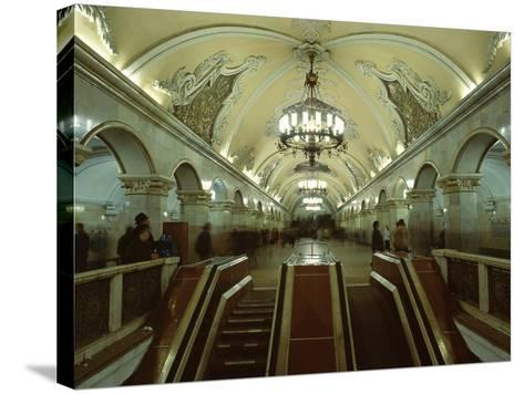 Interior of a Metro Station, with Ceiling Frescoes, Chandeliers and Marble Halls, Moscow, Russia-Gavin Hellier-Stretched Canvas Print