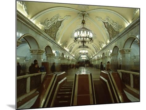 Interior of a Metro Station, with Ceiling Frescoes, Chandeliers and Marble Halls, Moscow, Russia-Gavin Hellier-Mounted Photographic Print