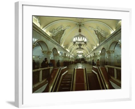 Interior of a Metro Station, with Ceiling Frescoes, Chandeliers and Marble Halls, Moscow, Russia-Gavin Hellier-Framed Art Print