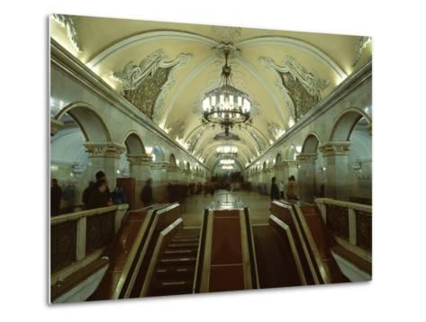 Interior of a Metro Station, with Ceiling Frescoes, Chandeliers and Marble Halls, Moscow, Russia-Gavin Hellier-Metal Print