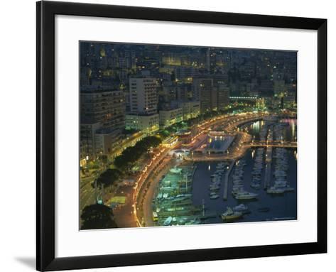 Harbour and Yachts and Twilight, Monte Carlo, Monaco, Mediterranean Coast, Europe-Gavin Hellier-Framed Art Print