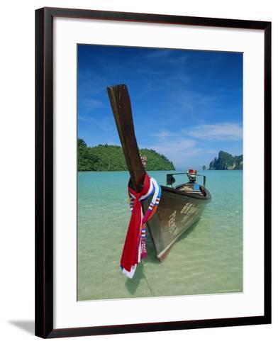 Typical Long Tail Boat, Ao Dalam Bay, Phi-Phi Don Island, Krabi Province, Thailand, Asia-Gavin Hellier-Framed Art Print