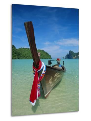 Typical Long Tail Boat, Ao Dalam Bay, Phi-Phi Don Island, Krabi Province, Thailand, Asia-Gavin Hellier-Metal Print