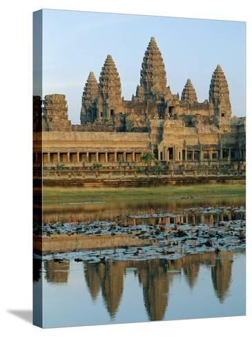 The Stone Causeway Leading to the Angkor Wat Temple in Evening Light, at Siem Reap, Cambodia, Asia-Gavin Hellier-Stretched Canvas Print