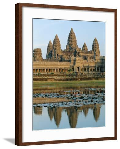 The Stone Causeway Leading to the Angkor Wat Temple in Evening Light, at Siem Reap, Cambodia, Asia-Gavin Hellier-Framed Art Print