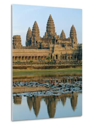 The Stone Causeway Leading to the Angkor Wat Temple in Evening Light, at Siem Reap, Cambodia, Asia-Gavin Hellier-Metal Print