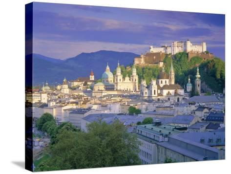 Elevated View of the Old City, Kollegienkirche and Cathedral Domes, Salzburg, Tirol, Austria-Gavin Hellier-Stretched Canvas Print