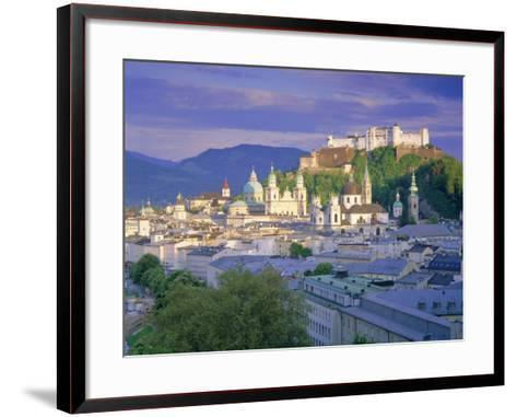 Elevated View of the Old City, Kollegienkirche and Cathedral Domes, Salzburg, Tirol, Austria-Gavin Hellier-Framed Art Print