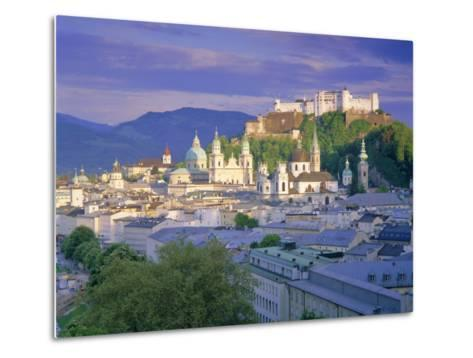 Elevated View of the Old City, Kollegienkirche and Cathedral Domes, Salzburg, Tirol, Austria-Gavin Hellier-Metal Print