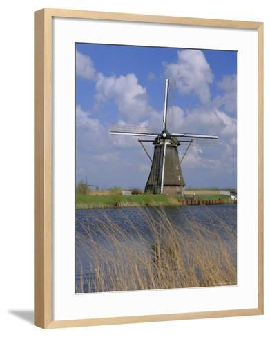 Windmill on the Canal, Kinderdijk, Unesco World Heritage Site, Holland (The Netherlands), Europe-Gavin Hellier-Framed Art Print