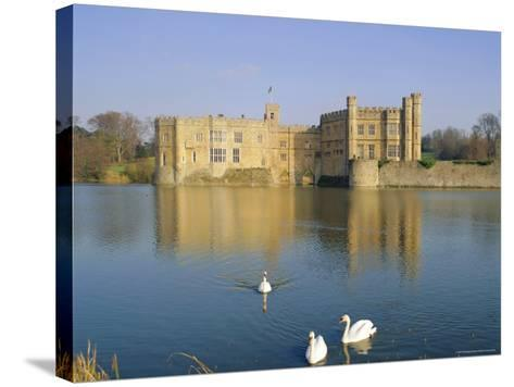 Swans in Front of Leeds Castle, Kent, England-G Richardson-Stretched Canvas Print